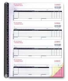 3-Part Purchase Order Books #635-IMP (Form# NC-124-3) IMPRINTED