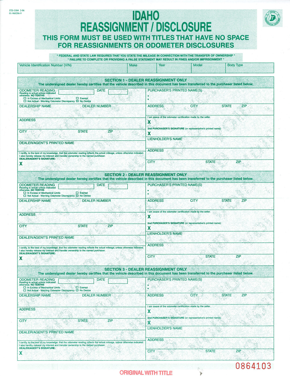 Idaho Title Reassignment /Disclosure Form