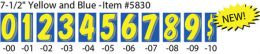 "7-1/2"" Window Sticker Numbers (Color: Yellow and Blue, Number: 0)"
