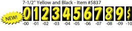 "7-1/2"" Window Sticker Numbers (Color: Yellow and Black, Number: 0)"
