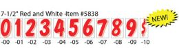 "7-1/2"" Window Sticker Numbers (Color: Red and White, Number: 0)"