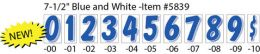 "7-1/2"" Window Sticker Numbers (Color: Blue and White, Number: 0)"