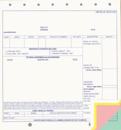 Vehicle Invoice 4-Part (Option: #8010)